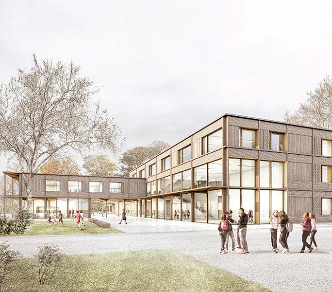 Anerkennung im Wettbewerb zum Neubau der Mittelschule in Holzkirchen (Bayern)
